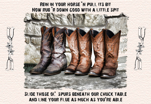 Cowboy Boot kitchen table placemat - Rein in your horse and pull its bit.....