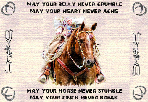 Cowboy Prayer kitchen table linen placemat - May your belly never grumble, may your heart never ache...