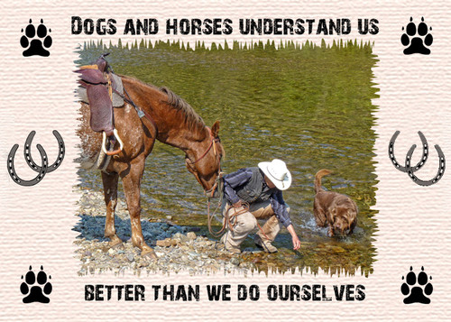 Western Placemat - Dogs and horses understand us better than we do ourselves