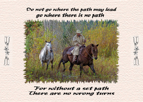 Western cowboy placemat - Trails Less Traveled - Do not go where the path may lead...