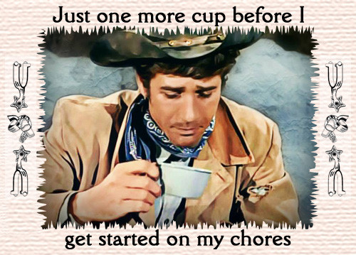 Robert Fuller linen table placemat - Just one more cup before I get started on my chores