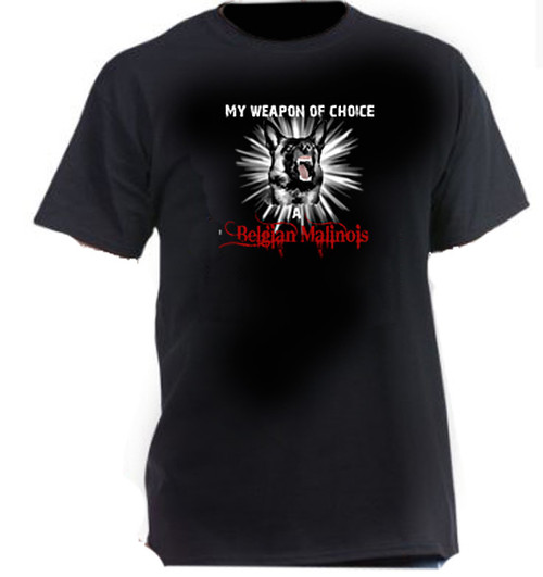 Dark cotton t-shirt - Weapon of Choice, A Belgian Malinois