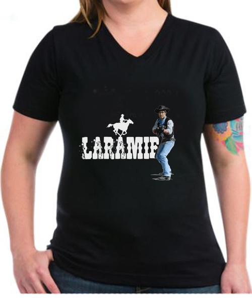 Ladies Robert Fuller dark cotton V-neck tshirt - Laramie Cowboy Jess