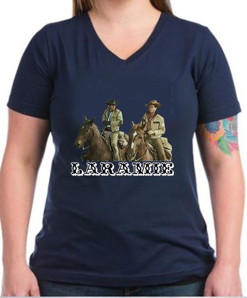 Robert Fuller ladies dark cotton V-neck t-shirt - Laramie, Jess and Slim - Navy