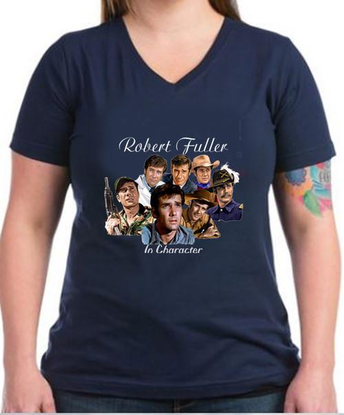 Robert Fuller ladies cotton V-neck t-shirt - Robert Fuller in Character - Navy