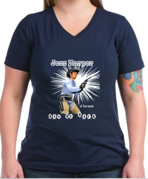 Robert Fuller Ladies dark cotton V-neck t-shirt - Jess Has My Back - Navy