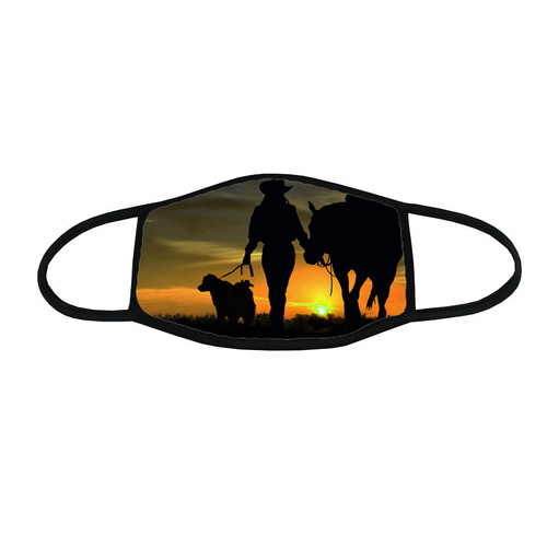 Sunset Cowgirl - face mask: Cowgirl pictured at sunset with her horse and dog by her side.