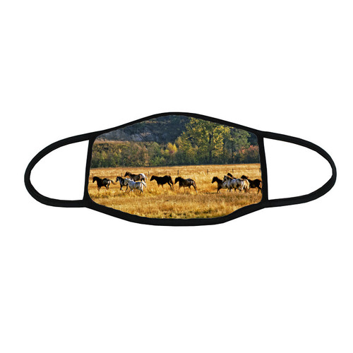 Thundering Hooves face mask - a herd of ranch horse gallop across an autumn pasture