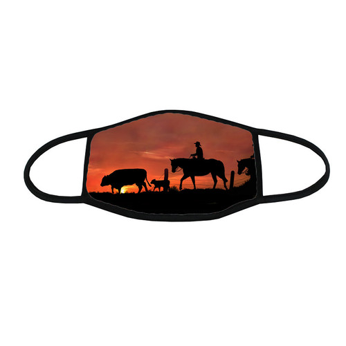 Trail 'em Home face mask - sunset silhouette of ranch hands bringing home a missing cow and calf