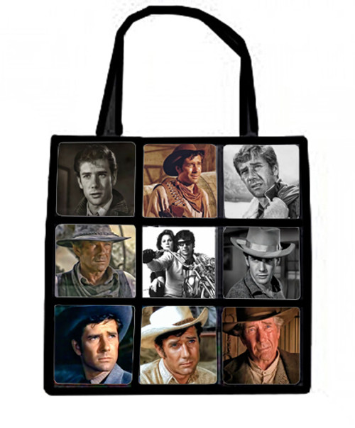 Plush nine panel tote bag-Robert Fuller starring in movies and television