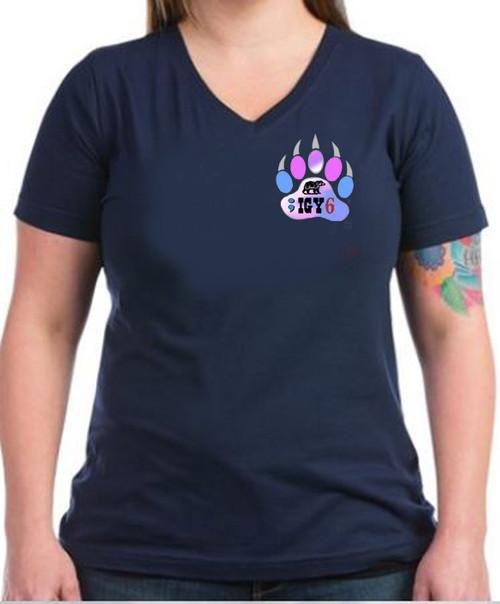 LGBTQ Transgender Black V-Neck t-shirt -;IGY6 Bear Paw