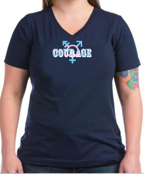 LGBTQ Transgender Black V-Neck t-shirt -Courage