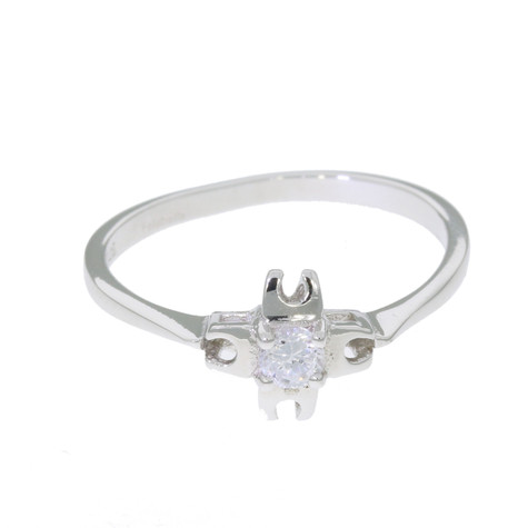 Sterling Silver and Swarovski Crystals Four Horseshoes Ring
