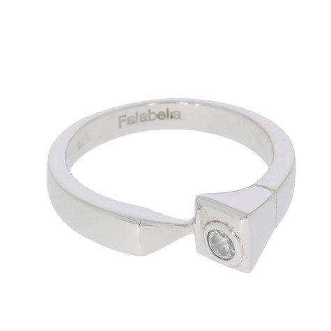 Farrier's Nail Ring with solitaire Swarovski clear crystal
