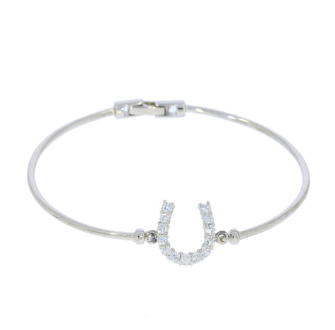 Horseshoe Bangle Sterling Silver & Swarovski Crystal