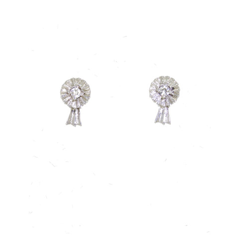 Small Rosette Stud Earrings Sterling Silver and Swarovski Crystals