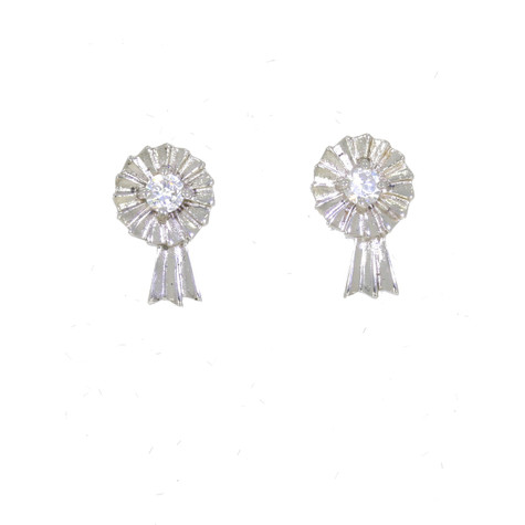 Large Rosette Stud Earrings Sterling Silver and Swarovski Crystals