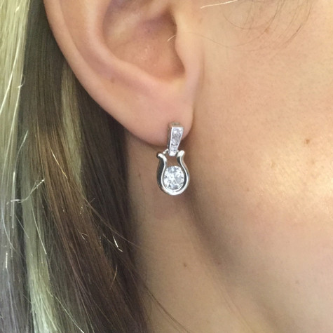 Horseshoe Drop Earrings in 925 Sterling Silver with Swarovski Crystals