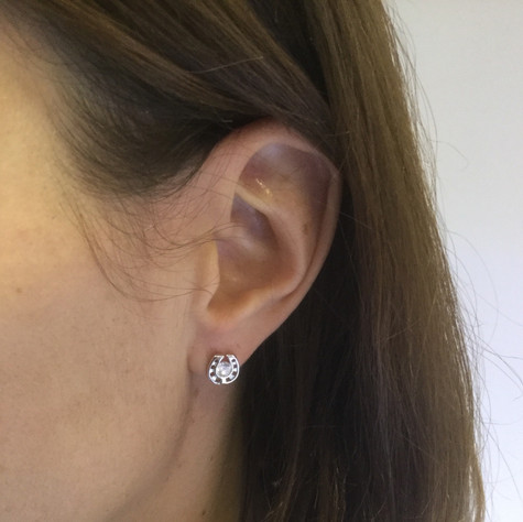 Cutout Horseshoe Studs Earrings Sterling Silver and Swarovski Crystals