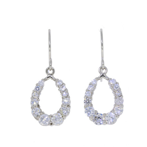 Graduated Horse Shoe Earrings in Sterling Silver and Swarovski Crystals