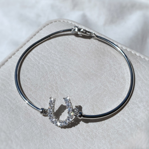 Sterling Silver & Swarovski Crystal Horseshoe Bangle