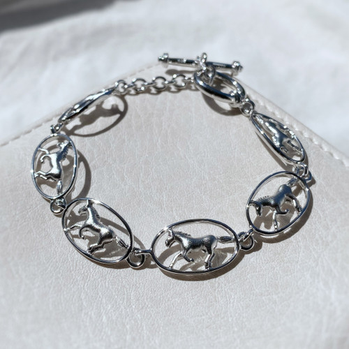 Sterling Silver Galloping Horse Bracelet