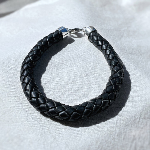 Plaited Leather & Silver Bracelet