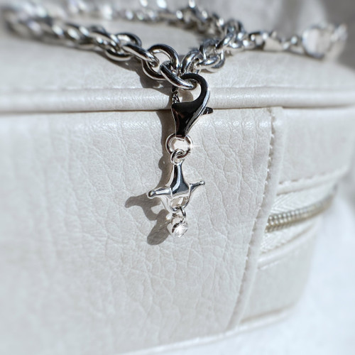Sterling Silver Bit & Crystal Charm