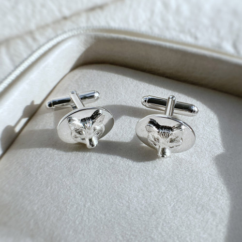 Sterling silver oval cufflinks feat. fox's mask