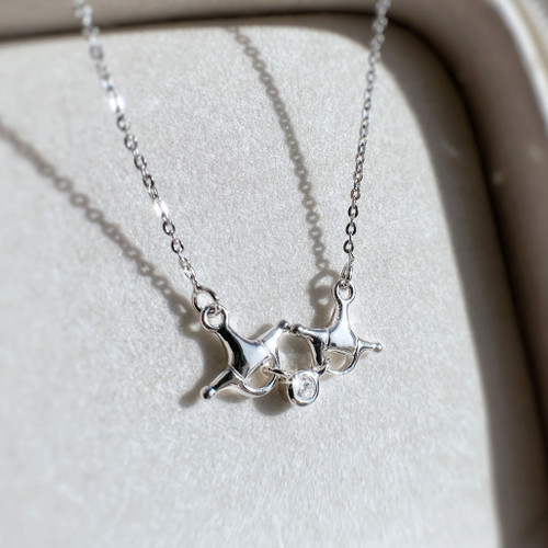 Sterling Silver and Swarovski Crystals Horse's Bit Pendant and chain