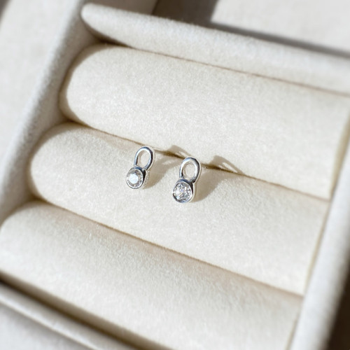 Sterling Silver and Swarovski Crystals Horseshoe Stud Earrings
