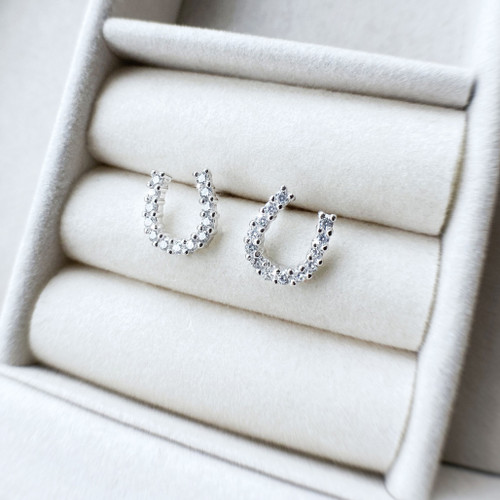 Horseshoe Stud Earrings Sterling Silver and Swarovski Crystals