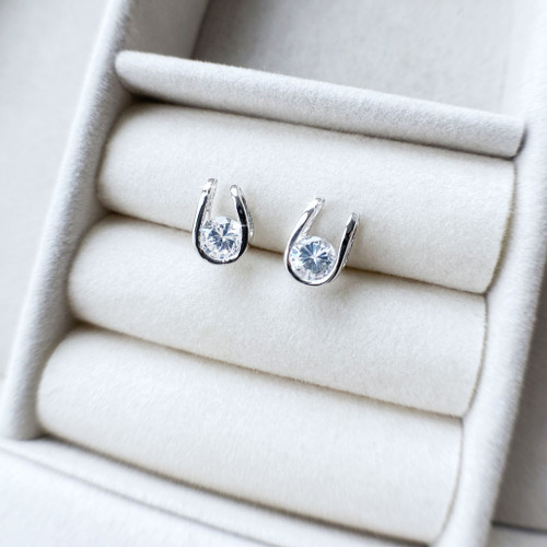 Horseshoe Stud Earrings in Sterling Silver and Swarovski Crystal