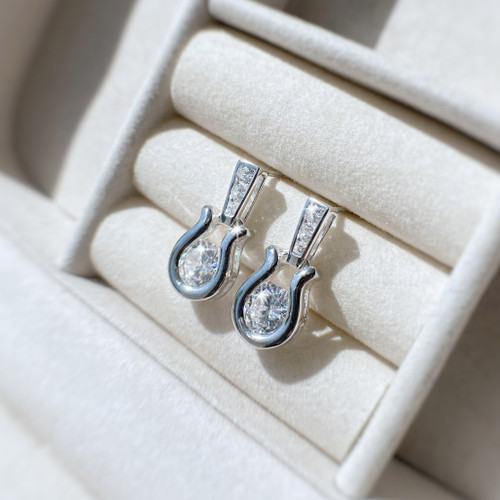 Horseshoe Drop Earrings Sterling Silver and Swarovski Crystals