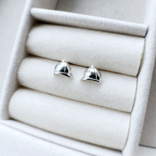 Riding Hat Stud Earrings Sterling Silver