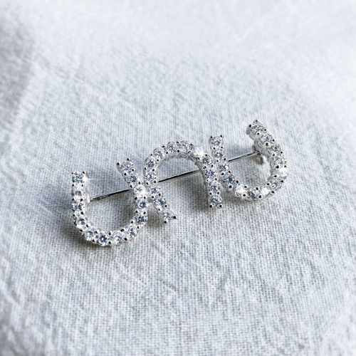 Three Horseshoe Stock Pin in Sterling Silver and Swarovski Crystals