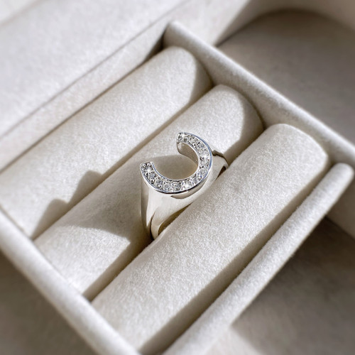 Sterling silver Horseshoe Ring Inset with Swarovski crystals and polished shank