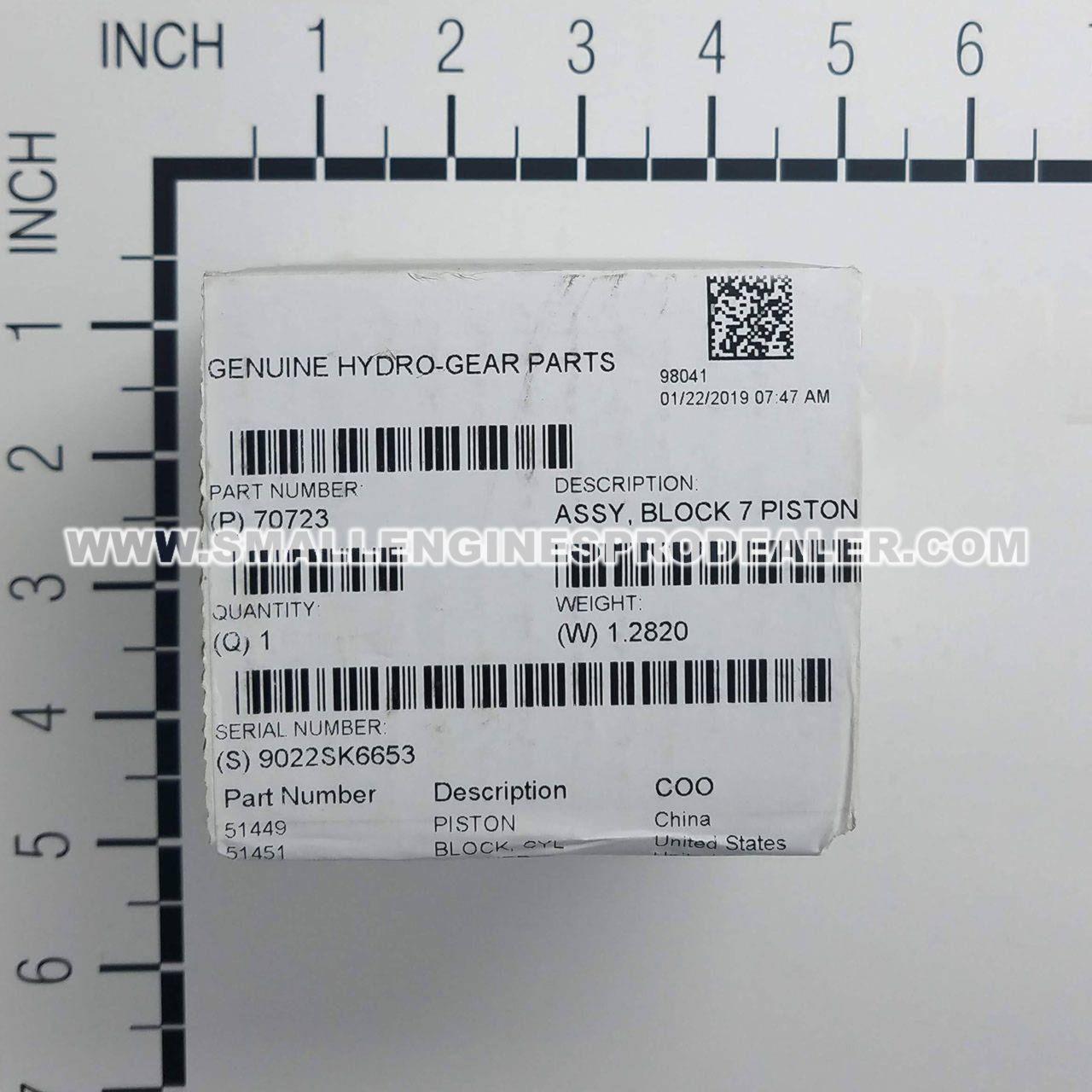 Genuine OEM Hydro Gear HUB /& 7 FAN ASSY   70811
