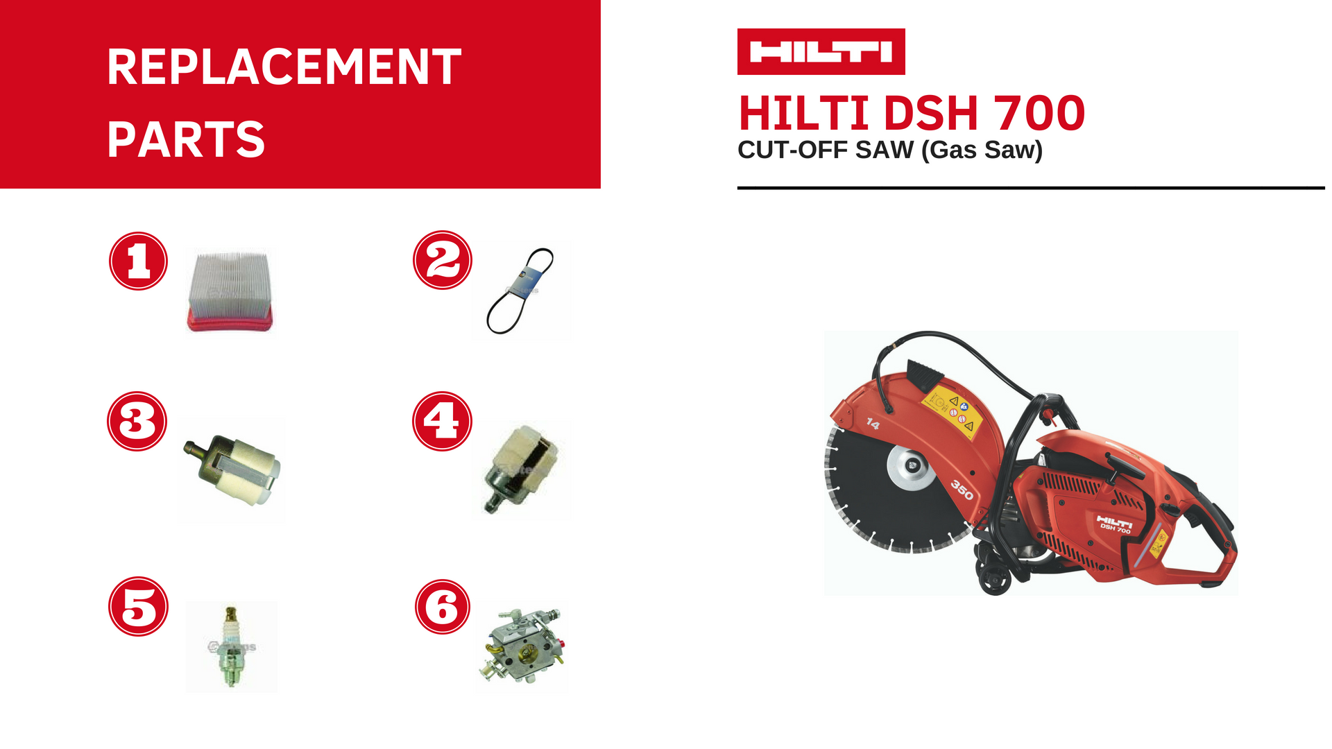 HILTI DSH 700 parts list - HILTI cut-off saw
