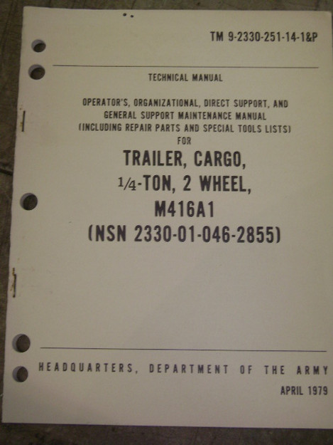 Cargo Trailer (M416A1) Technical Manual