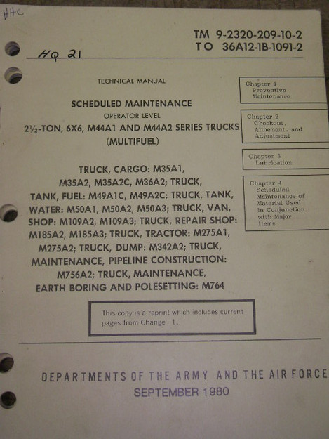 M44A1, M44A2 Truck Series Scheduled Maintenance Manual