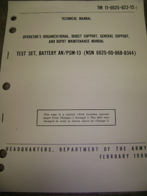 AN/PSM-13 Battery Test Set Manual