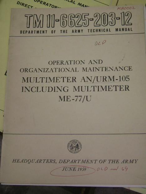 Multimeter (AN/URM-105, ME-77/U) Manual