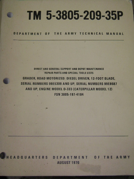 Diesel Road Grader Technical Manual