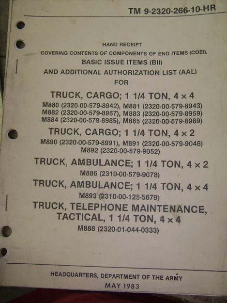 Cargo Truck/Ambulance Hand Receipt