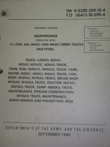 M44A1, M44A2 Truck Series Maintenance Manual