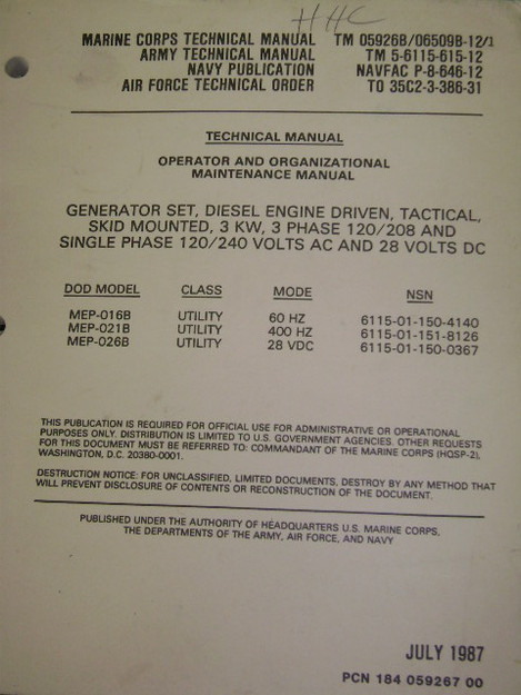 Tactical Diesel Generator Set Manual