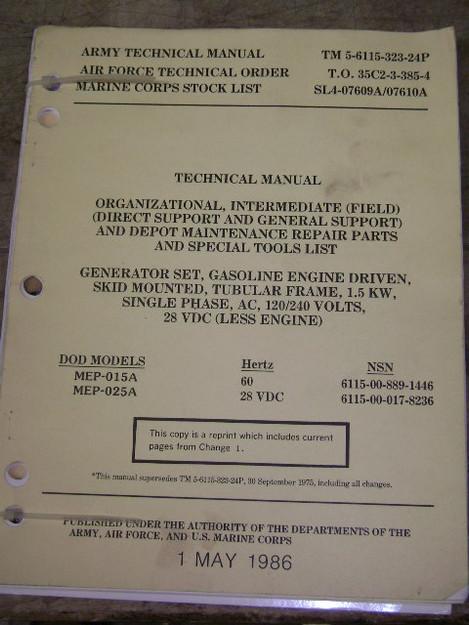 Gasoline (1.5KW) Generator Set Technical Manual