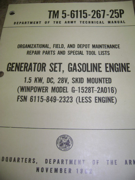Generator Set (Windpower model G-1528T-2A016) Manual