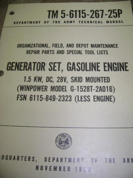 Generator Set (Windpower model G-1528T-2A016) Manual
